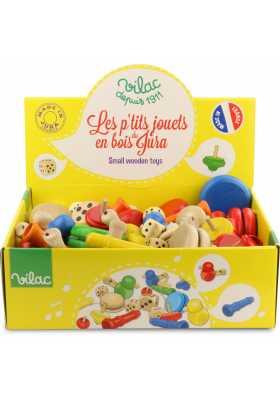 Présentoir de petits jouets du Jura assortis