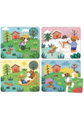 Puzzles des 4 saisons - coffret bois (4 x 6 pces)