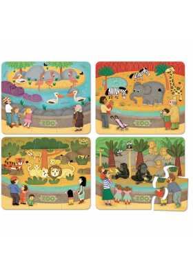 Puzzles du zoo - coffret bois (4 x 6 pces)