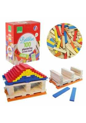 Batibloc color - 100 planchettes en bois colorées*