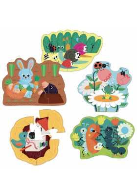 5 wooden garden puzzles Rabbit